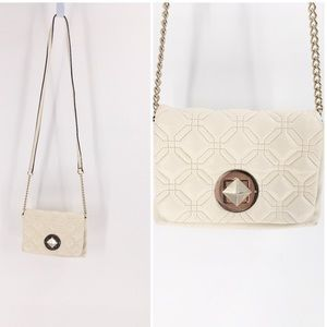 Kate Spade Cream Leather Quilted Crossbody Handbag